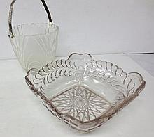early pressed square glass bowl and ice bucket