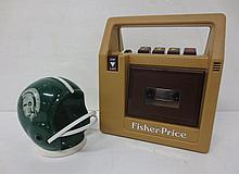 Fisher price tape player and Football helmet bank