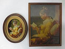Framed needlepoint and  companion print
