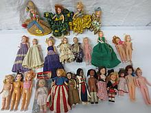 large collection of vintage hard plastic dolls