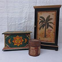three decorative objects, painted box and cupboard