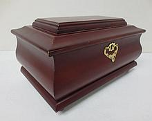 Mahogany jewelry box with inside tray and key, Things Remembered
