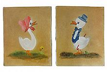 Two signed Lockridge oil on canvas, Mr & Mrs Duck