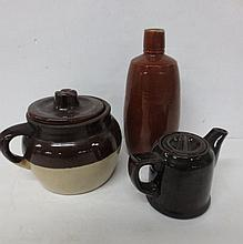 antique pottery bottle, Covered bean pot, and teapot
