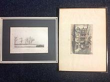 Paul Rovi, etching, wintery landscape titled Suresnes - dated 1870-71, sign