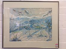 Watercolour and collage, Corsican palm tree landscape, signed indistinctly,