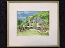 Joan McClure, watercolour, rural house with dry stone wall - signed, dated
