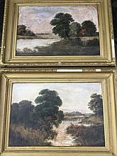 Oils on canvas, a pair, nineteenth century English school, river landscapes