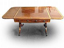A nineteenth century mahogany sofa table, crossbanded in satinwood framed b