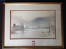 Russell, pastel, river landscape of Northern England with suspension bridge