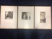 H Harvey Clarke, etchings, titled Evening & A Sheltered Pool - signed & fra