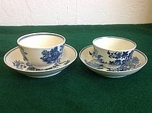 A first-period Worcester 'zig-zag fence' pattern blue-and-white tea bowl an