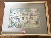 John Godden, pencil and watercolour, study of cottage and garden, signed, m