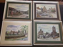 Jim Page, four pen ink & watercolour studies of local scenes - Wooler, Akel