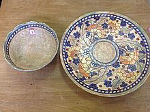 Charlotte Rhead, a crown ducal tube lined plaque and matching bowl, the flo