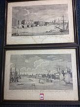 A pair of eighteenth century engravings of London after GD Heumann, the vie