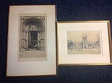 E Howard, etching, titled West Woorway Rockwater - signed, mounted & framed