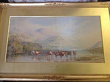 Pearson & Wainwright, watercolour, cattle watering in lakeland landscape, s