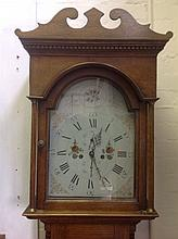 A nineteenth century oak longcase clock, the hood with swan-neck pediment a