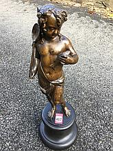 Bronze, nineteenth century Italian cast of a fisherboy, holding net & fish,