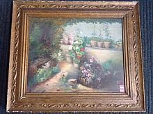 Marion Thomson, oil on canvas, garden with flower pots, signed & gilt frame