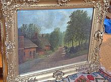 CH Smart(?), oil on canvas, English wooded lane with figures and cottages,
