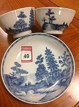Three pieces of eighteenth century blue & white Worcester decorated in the