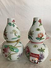 A pair of Chinese gourd shaped vases republican period vases, decorated in