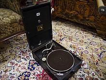 A 1930s HMV portable gramophone bearing ivorine pl