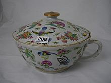 A Chinese export porcelain chamber pot and cover,