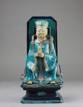 Early Qing San Cai Civil Official Figural