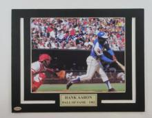 Hank Aaron Autographed/signed matted photo