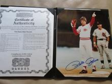 Pete Rose autographed photo in nice folder