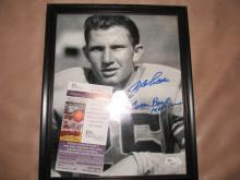 Framed Y.A. Tittle autographed photo COA JSA