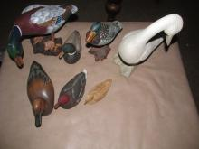 6 Wood Duck Decoys and a Swan