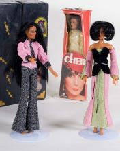 Black Cher Doll Case with 3 Cher Dolls from the 70's nice condition
