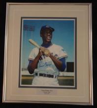 Framed Autographed Ernie Banks Photo