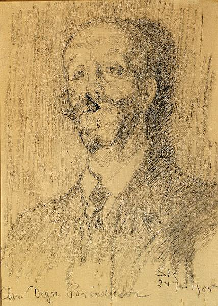 P. S. Krøyer: Portrait of hotelier Christian Degn Brøndum (1856-1932) with a cigar.
