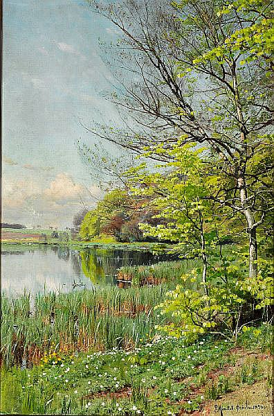 Peder Mønsted: Spring day in Ørholm.