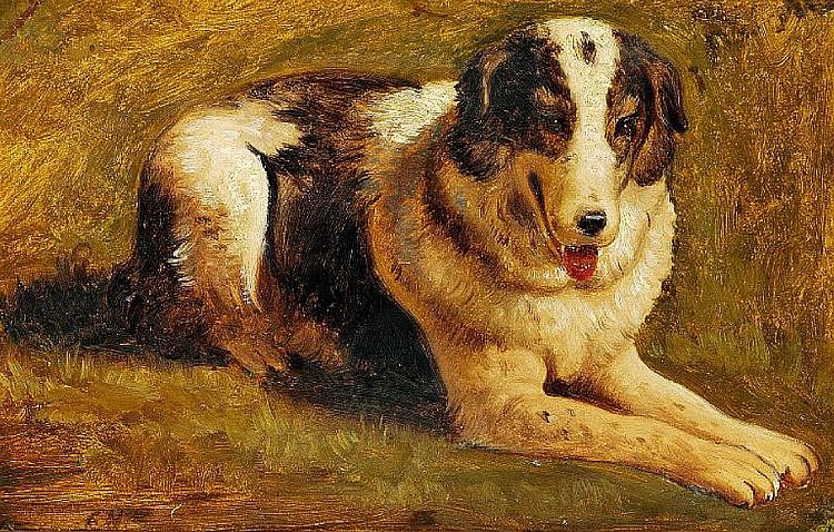 Constantin Hansen: Lying sheepdog from Paestum, Italy. 1838.