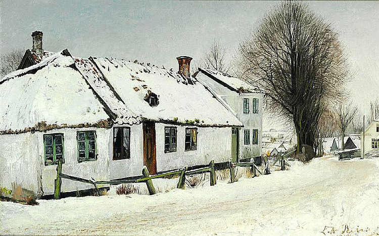 L. A. Ring: Winter day in St. Jørgensbjerg.
