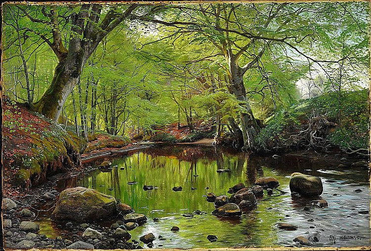 Peder Mønsted: Springtime in the forest.