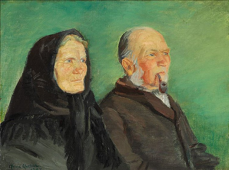 Anna Ancher: Double portrait of a golden wedding couple from Skagen on a green background.