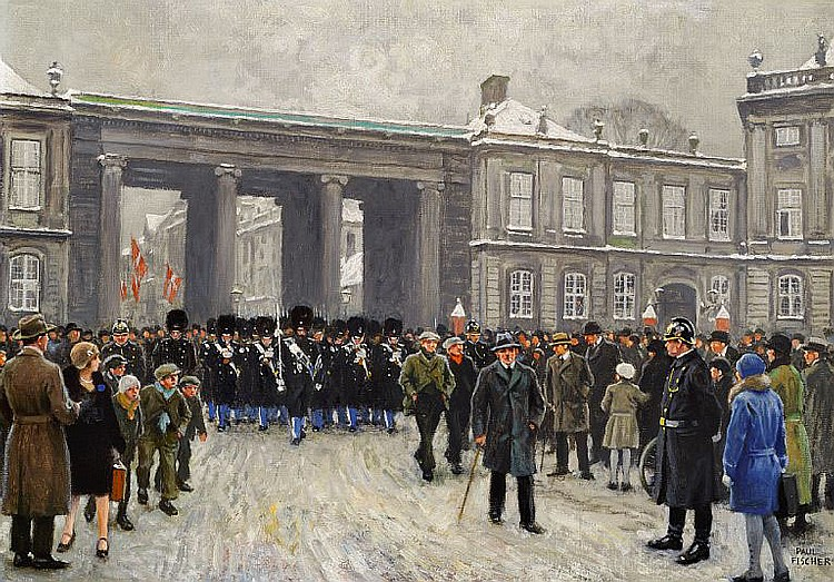 Paul Fischer: The King's Guards in Amalienborg Square.