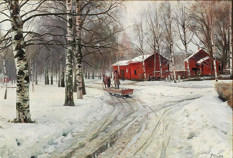 Peder Mønsted: Winter day with thaw. Kirkestien (The church path) in Leksand, Sweden.