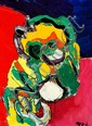 Karel Appel: Colourful mask. Signed Appel. Oil on canvas. 81 x 60 cm.