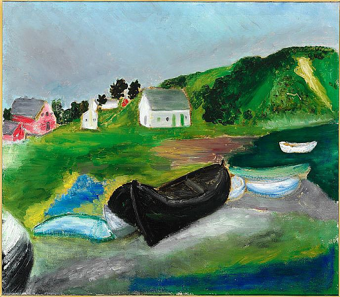 Jens Søndergaard: Scene with boats, 1948. Signed Jens Søndergård, indistinctly titled and dated on the reverse. Oil on rough canvas. 74 x 84 cm.