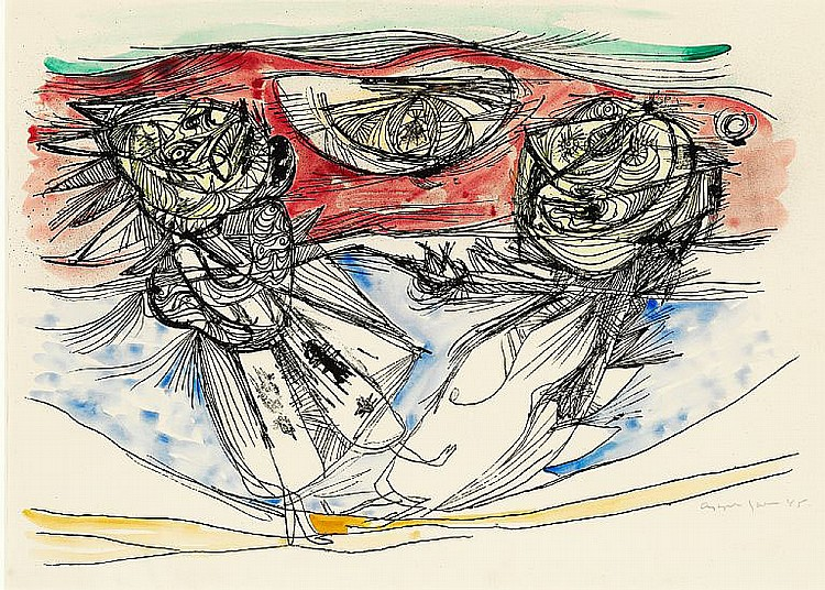 Asger Jorn: Composition, from the Ars Series, 1945. Signed Jorn. Hand coloured lithograph. Visible size 33 x 46 cm.
