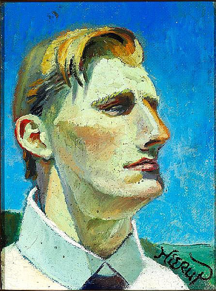 Henry Heerup: Self portrait. Signed Heerup. Executed in the beginning of the 1930s. Oil on canvas. 32 x 22 cm.