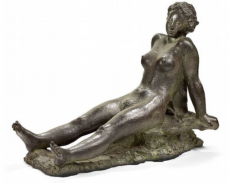 Gerhard Henning: Seated girl. Signed G. Henning No. III. Bronze. H. 41 cm. L. 55 cm.